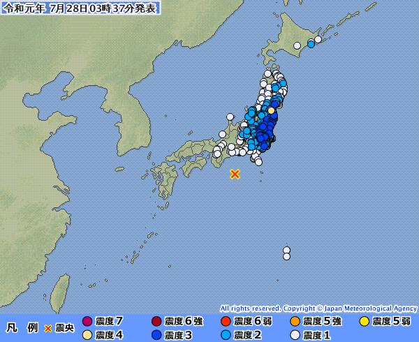 三重県沖異常震域